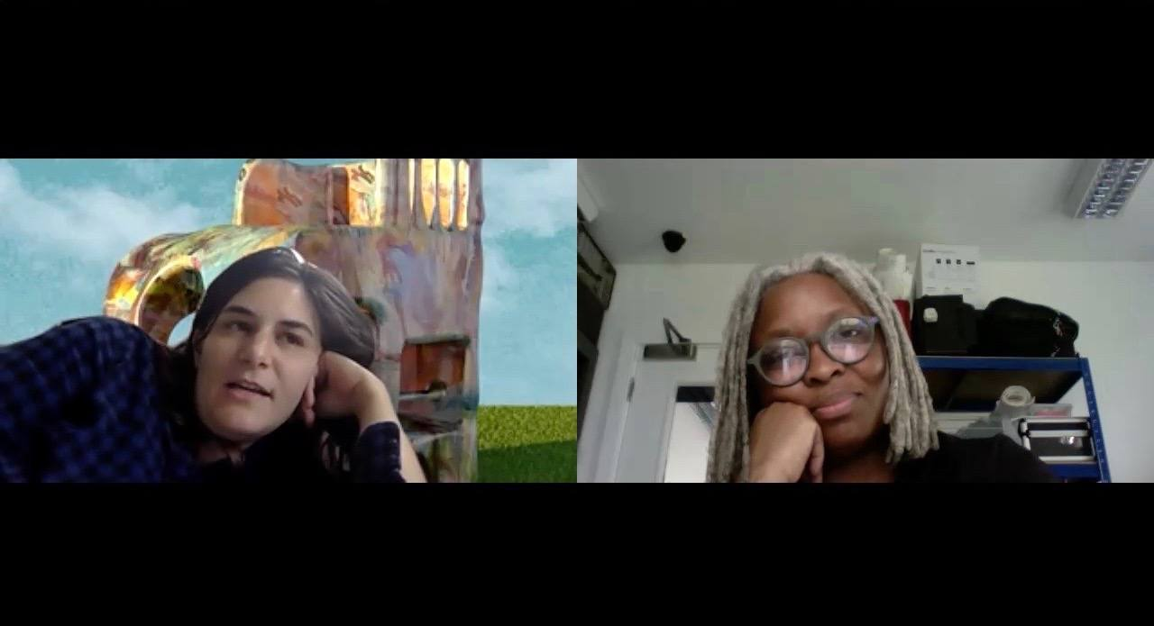 A screenshot of Jillian Mayer and Adelaide Bannerman speaking over Zoom