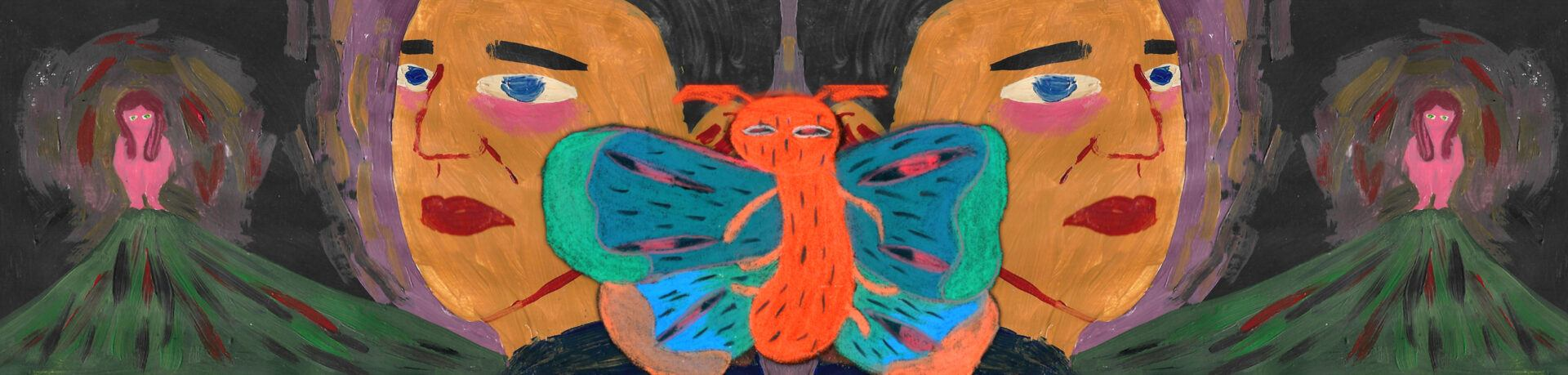 An animation of a butterfly between two heads